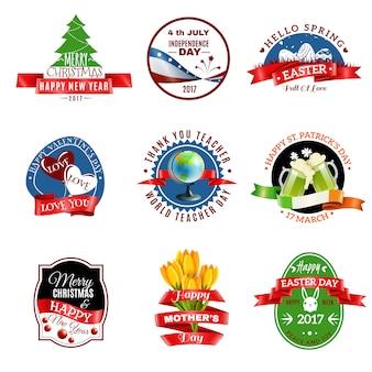 Conjunto de emblemas de tarjetas de felicitación