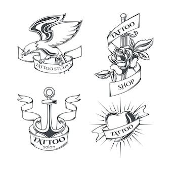Conjunto de emblemas de tatuaje