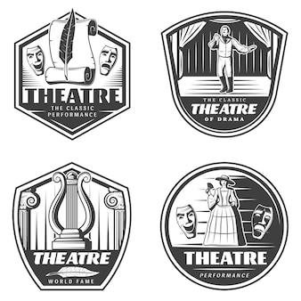 Conjunto de emblemas de teatro clásico vintage