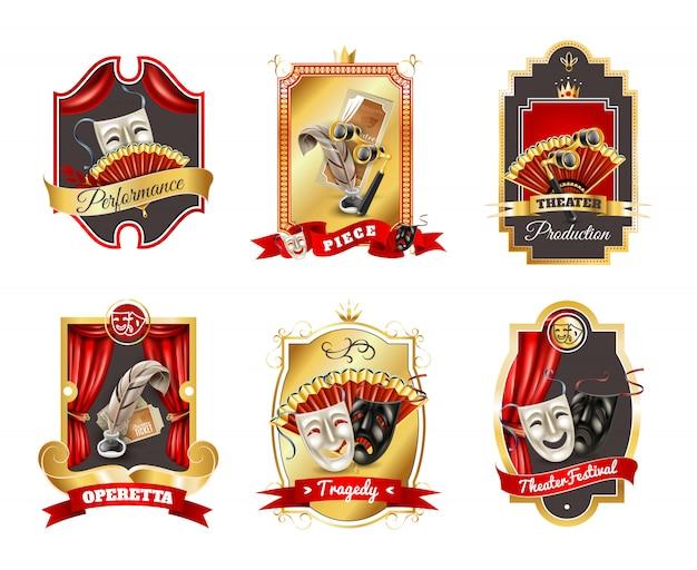 Conjunto de emblemas de teatro
