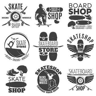 Conjunto de emblemas de la tienda de skateboard vintage