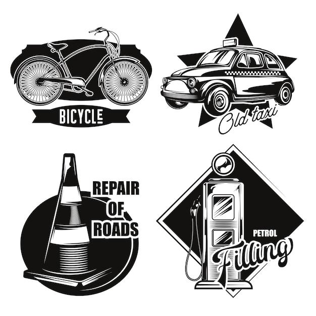 Conjunto de emblemas de transporte por carretera.
