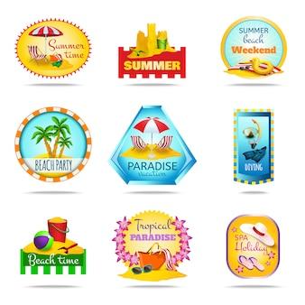 Conjunto de emblemas de vacaciones