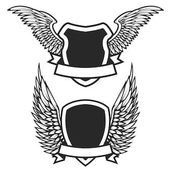 Conjunto de los emblemas vacíos con alas. elementos para logotipo, etiqueta, insignia, signo. ilustración