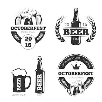 Conjunto de emblemas de vector de cervecería de cerveza vintage, etiquetas, insignias, logotipos.