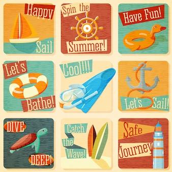 Conjunto de emblemas de verano estilizados retro con elementos tipográficos