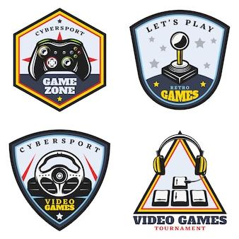 Conjunto de emblemas de videojuegos de colores vintage
