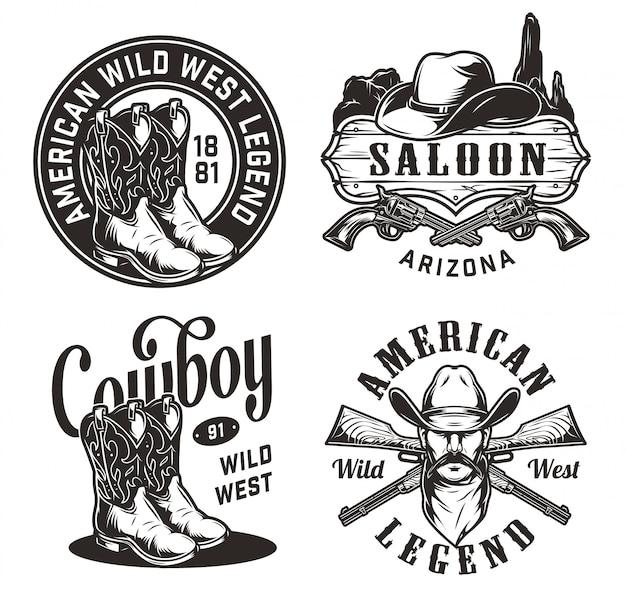 Conjunto de emblemas vintage del salvaje oeste