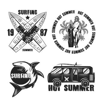 Conjunto de emblemas vintage de surf aislado en blanco
