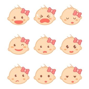 Conjunto de emociones de un bebé o niña en un personaje de dibujos animados de diseño plano. desarrollo del bebé e hitos.