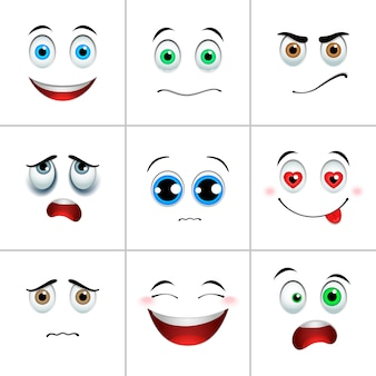 Conjunto de emociones, cuadrado.