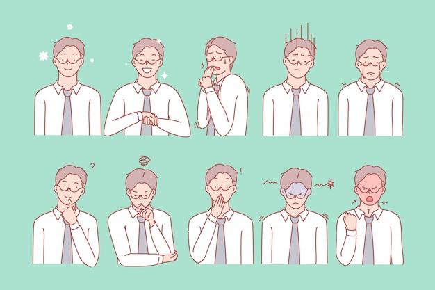Conjunto de emociones y expresiones faciales del hombre