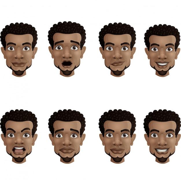 Conjunto de emociones faciales masculinas