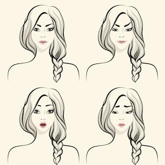 Conjunto de emociones faciales de mujer.