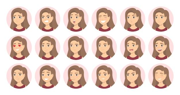 Conjunto de emociones de mujer. triste y feliz, cansado y perezoso.