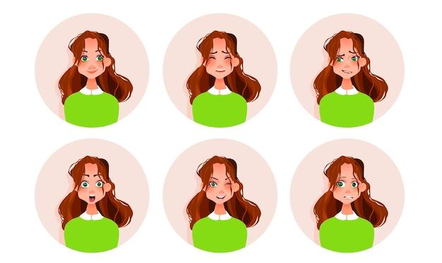 Conjunto de emociones de la mujer.
