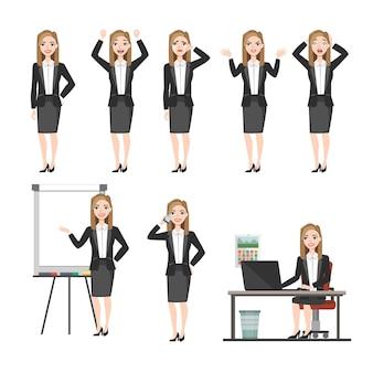 Conjunto de emociones y poses para mujer de negocios. chica joven en traje de oficina experimenta diferentes emociones y poses.