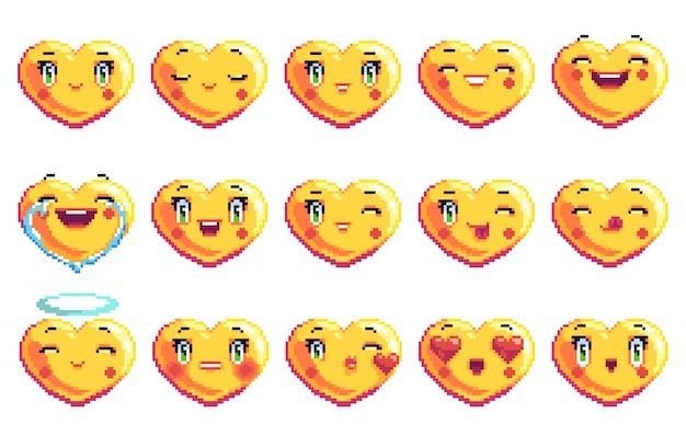 Conjunto de emociones positivas emoji pixel art en forma de corazón en color dorado
