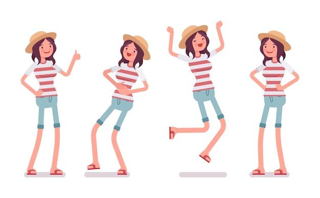 Conjunto de emociones positivas de mujer joven
