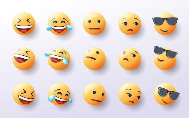 Conjunto de emoji 3d en varios puntos de vista de diseño