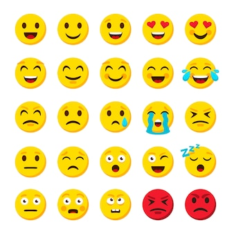 Conjunto de emoji emoticon dibujos animados emojis símbolos iconos de objetos de chat digital