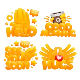 Conjunto de emoji manos amarillas en varios gestos con títulos hola, buenos días, hasta pronto, abrazos.