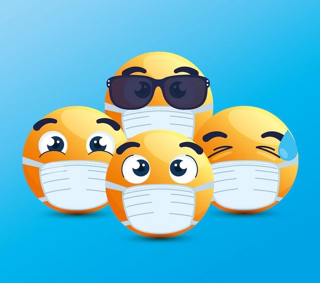 Conjunto de emoji con máscara médica, caras amarillas con máscaras quirúrgicas blancas, iconos para brote de coronavirus