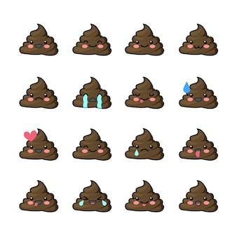 Conjunto de emojis de caca con diferentes expresiones.