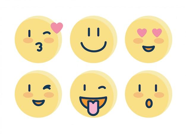 Conjunto de emojis, caras iconos amarillos
