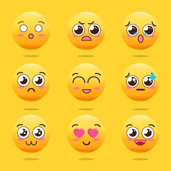 Conjunto de emojis lindos kawaii