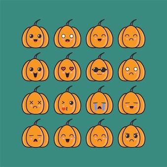 Conjunto de emoticones de calabazas