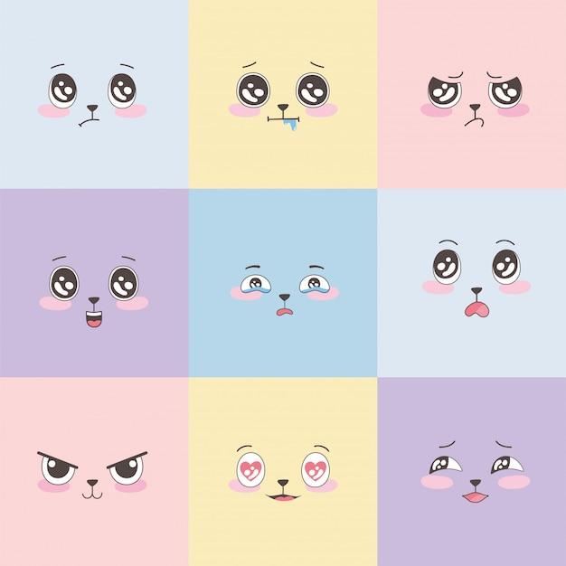 Conjunto de emoticones coloridos, diseño de dibujos animados de expresión de caras de emoji
