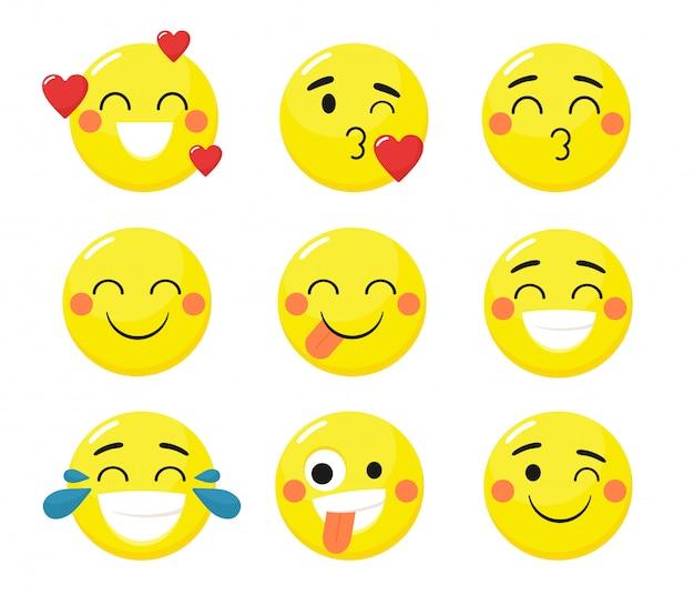 Un conjunto de emoticones divertidos. aislamientos