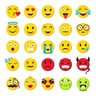 Conjunto de emoticones emoji se enfrenta a emoticon sonrisa divertida colección de paquetes de vectores