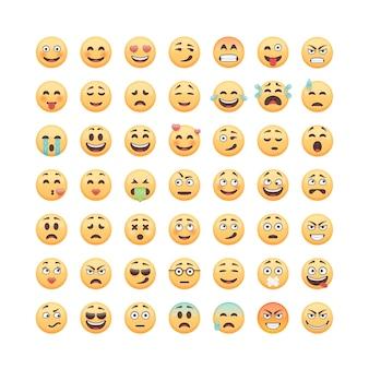 Conjunto de emoticones, emoji sobre fondo blanco, ilustración.