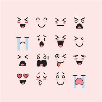Conjunto de emoticones faciales