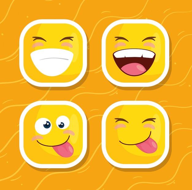 Conjunto de emoticones en fondo amarillo
