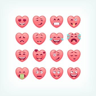 Conjunto de emoticones de forma de corazón. caritas románticas y de san valentín, emojies.