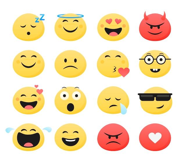 Conjunto de emoticones lindo sonriente