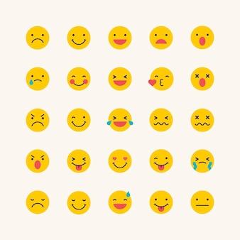 Conjunto de emoticonos amarillo redondo aislado sobre fondo beige