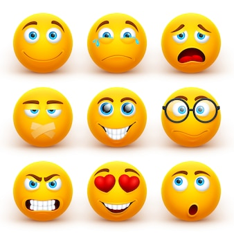 Conjunto de emoticonos amarillos 3d. iconos sonrientes divertidos de la cara con diversas expresiones.