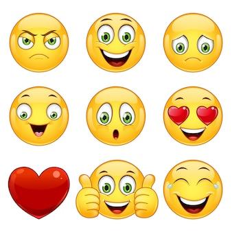 Conjunto de emoticonos amarillos.