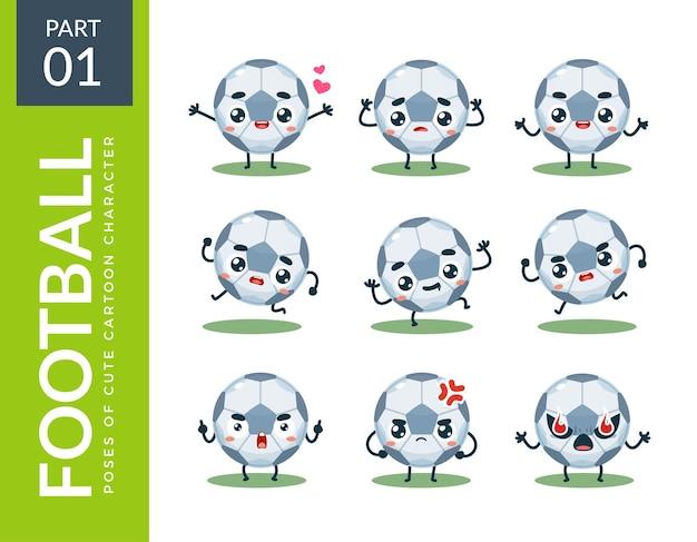 Conjunto de emoticonos de balón de fútbol. primer set. ilustración vectorial