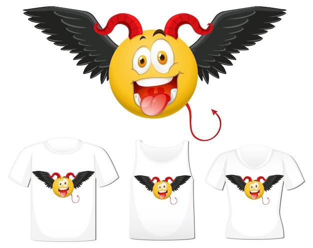 Conjunto de emoticonos de diablo con expresión facial en maqueta de camisa