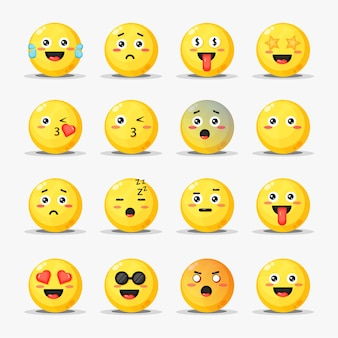 Conjunto de emoticonos de dibujos animados