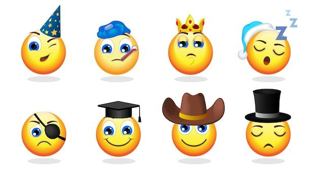 Conjunto de emoticonos divertidos de dibujos animados