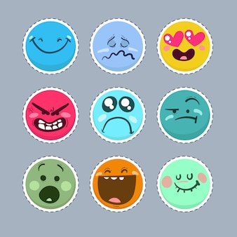 Conjunto de emoticonos divertidos.