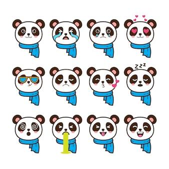 Conjunto de emoticonos de panda
