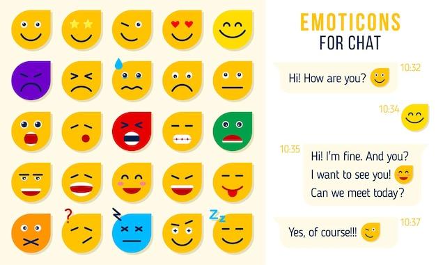 Conjunto de emoticonos planos emoji para chat conjunto de emoji