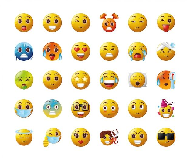 Conjunto de emoticonos sobre fondo blanco.